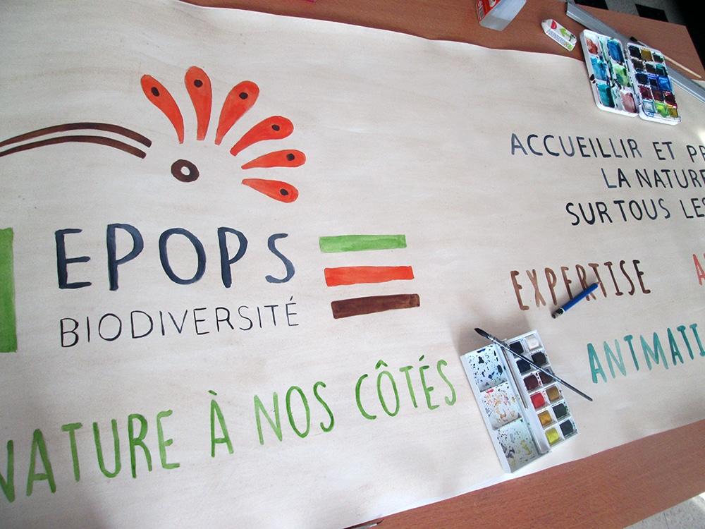 Epops biodiversité, banderole et affiche peintes à la main